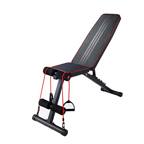 Utility Weight Benches for Full Body Workout and Foldable Flat/Incline/Decline FID Bench Press for Home Gym,Adjustable Workout Bench,Multi-Foldable Bench,Perfect for Full Body Workout,Black