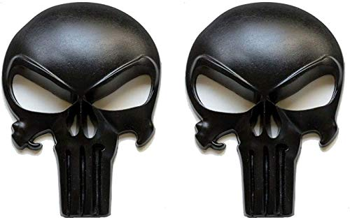RJ Home 2 Packs Matte Black 3D Metal Decals/stickers-tactical Skulls for Gun Magazines, Cars, Trucks, Motorcycles, Etc.