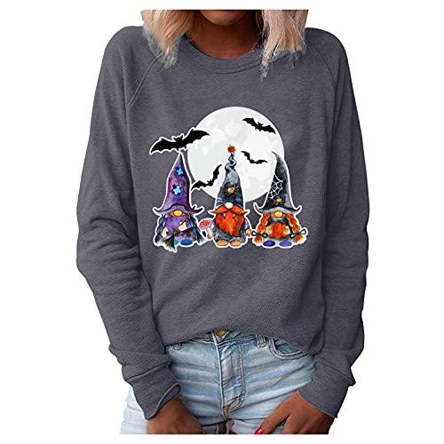 Damen Hallow Gnomes Sweatshirt Halloween Casual Druck Pullover Tops Bluse Herbst Lange Ärmel Casual Blusen Elegant Sweater Tunika Blusen Casual Sport Shirt