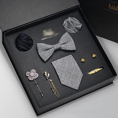 NXYJD Hombre Corbata Conjunto Corbatas Corbatas pañuelo pañuelo piñón Corbata Corbata Clip 8 Piezas Juegos de Novio Groomsmen Ties Body Regalo (Color : B)