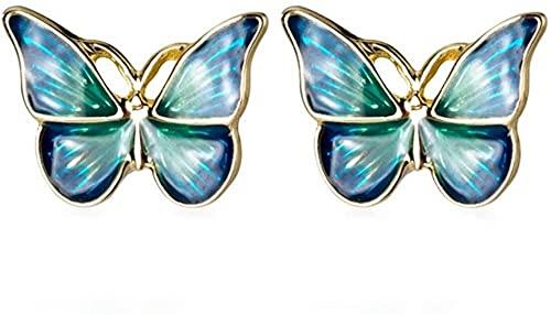 TIANYOU Blue Green Enamel Golden Vivid Butterfly Pendientes de Moda Joyería para Mujer Joyería H