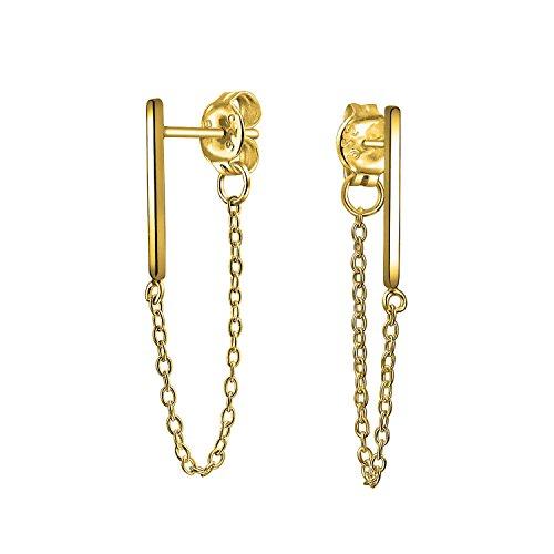 Modern Bar Chain Stud earrings 925 Sterling Silver 125mm