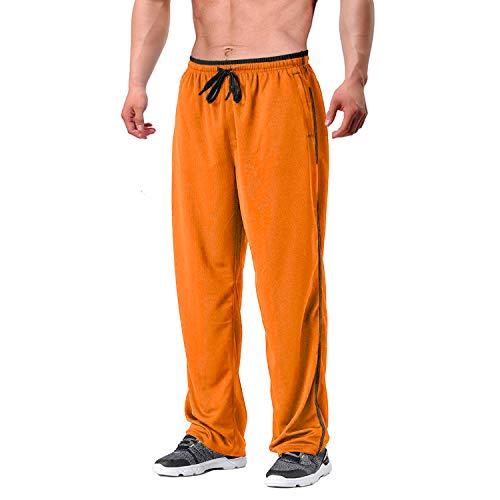 EKLENTSON Pantalones de chándal para hombre, de malla, con bolsillos con cremallera, parte inferior abierta, pantalones atléticos holgados., Hombre, naranja, L