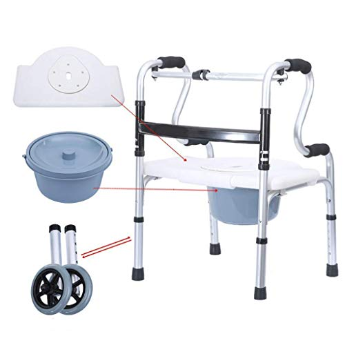 N / A Rollator Walker with Shower Chair and 2 Wheels, Commode with Casters, Rolling Shower Chair with Padded Toilet Seat for Handicap and Seniors