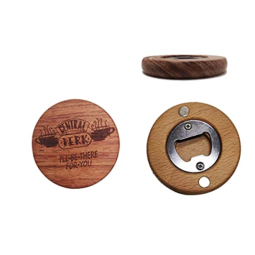 Bottle Opener, Wooden Fridge Magnet Beer Opener Coaster, Multi-Functional Decoration Craft, Friends Fans, Brown Magnet Openers 2PCS