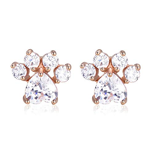 QIN White blue protein stone cute cat claw heart stone stud earring woman wedding jewelry rainbow crystal rose gold silver earrings