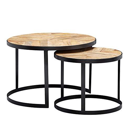 Wohnling Juego de 2 mesas de café de madera maciza/metal, mesa redonda para salón, mesa auxiliar con patas de metal negro, juego de 2 piezas