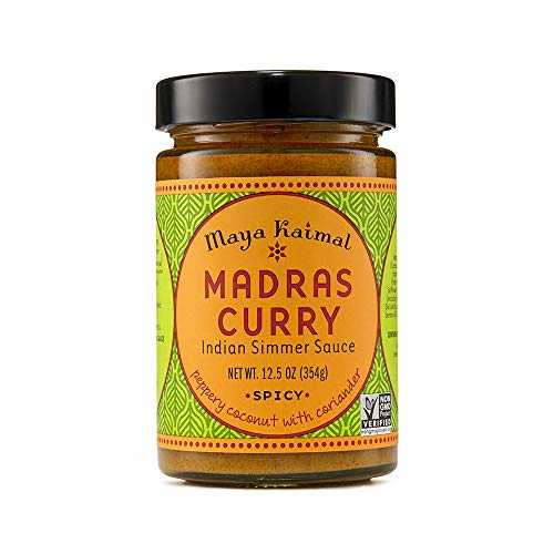 Maya Kaimal Madras Curry Sauce 125 oz Spicy Indian Simmer Sauce with Peppery Coconut and Coriander Vegan Gluten Free NonGMO Project Verified Vegetarian