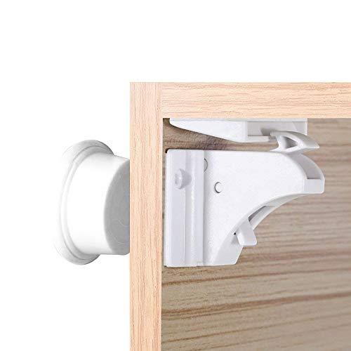 LATTCURE Baby Kindersicherung Magnetischer Schrankschutz Schrankschloss 8 Schlösser mit 2 Schlüssel für Schubladen und Schranktür für Baby Kinder Sicherheit