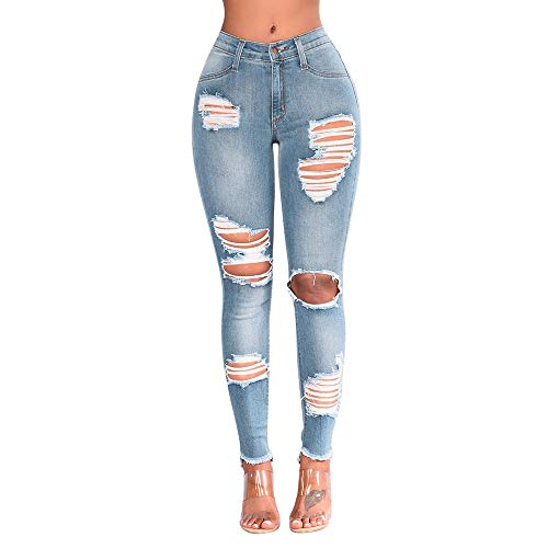 Ansenesna Damen Jeans Mit Löcher Stretch Skinny Elegant Röhrenjeans Frauen Zerissene Vintage Denim Hose