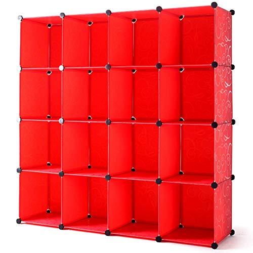 AOIWE Estantería de plástico con 16 cubos abiertos, organizador de almacenamiento con impresión de gran capacidad, estantería modular para libros, juguetes, ropa, 147 x 147 x 47 cm