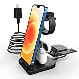 Wireless Charger Blueendless 3 in 1 Wireless Charging Station Compatible with iPhone 12 11/11 Pro Max/XR/XS Max/XS/X,Iwatch 6 5 4 3 2 1 and Airpods(Include QC3.0 Adapter)
