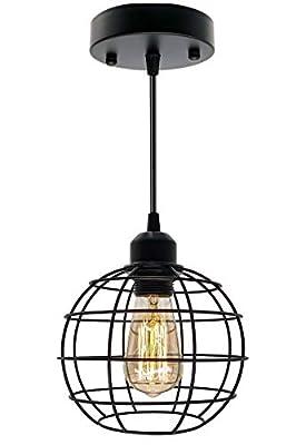Pendant Light Fixture, Industrial Hanging Light Black Basket Cage, E26 E27 Base Vintage Retro Pendant Fixture Max 660 Watts Hanging Ceiling Lamp for Living Room Farmhouse Kitchen