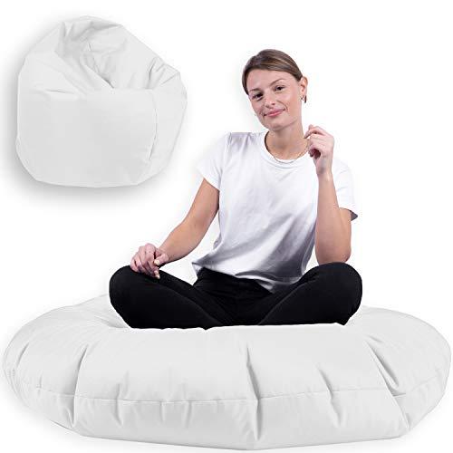 Sitzsack 2 in 1 mit Füllung Indoor Outdoor Sitzkissen 3 Größen Yoga Kissen BeanBag (100cm Durchmesser, Weiß)