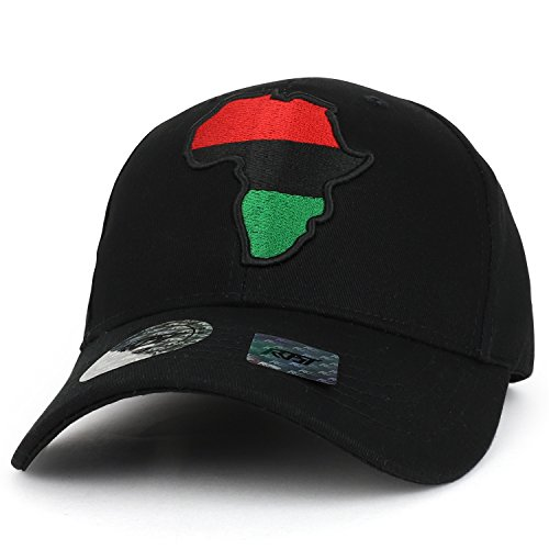 Trendy Apparel Shop Red Black Green Africa Map Embroidered Structured Baseball Cap - Black