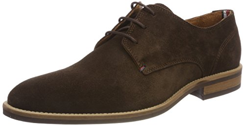 Tommy Hilfiger Essential Suede Lace Up Derby, Zapatos de Cordones Oxford Hombre, Marrón (Coffee Bean 212), 43 EU