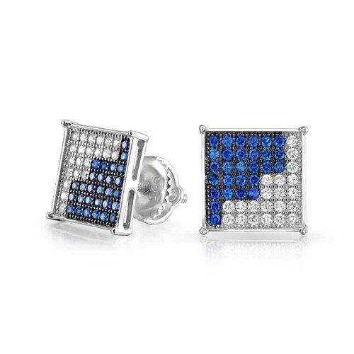 Azul blanco cúbico Zirconia Micro Pave CZ cuadrados pendientes para hombres simulado zafiro plata esterlina tornillo 9MM