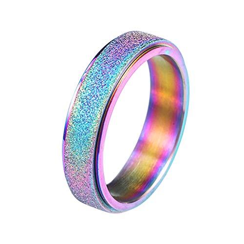 Alwayswin Ring Damen Edelstahl Ring Frauen Spinner Ring Sand Blast Finish Ring Comfort Einfach Ring Diamanten Rose Gold Ring Modeschmuck Geschenk Damenring Schmuck