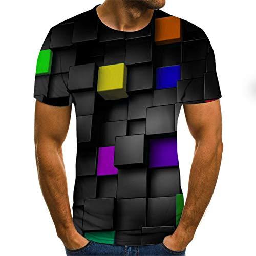YUANCHENG Hombre de Manga Corta Slim Fit Tops Camiseta geométrica de impresión 3D para Hombre