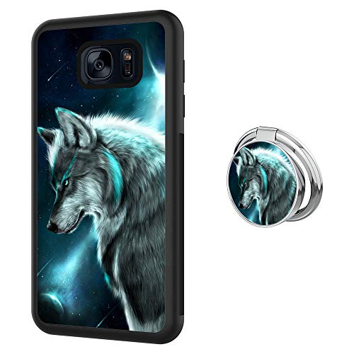 Samsung Galaxy S7 Case with Holder Ring Siberian Wolf Soft Black TPU Rubber and PC Anti-Slip Grip Cover Case, Shockproof Defend Protective Phone Case for Samsung Galaxy S7