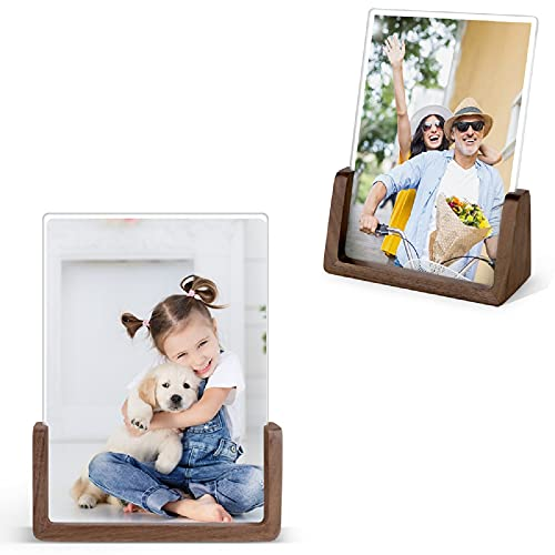 photo enlargements onlines Picture Frames - MEKO 2 Pack Vertical 5x7 Inch Wood Rustic Photo Frame Made of Walnut Wood Base and High Definition Break Free Acrylic Covers for Tabletop or Desktop Display