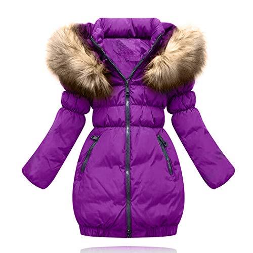 SMITHROAD Kinder Mädchen Winterjacke mit Kunstpelz Tailliert Lang Jacket Wintermantel Mantel Parka Oberbekleidung Winter … (EU 146,Herstellergröße 150, Lila)