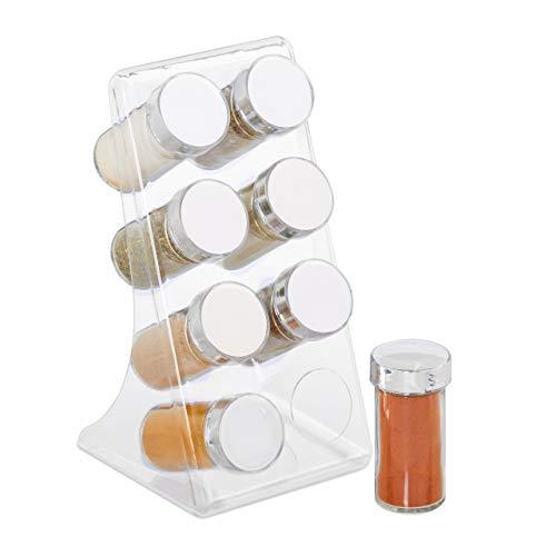 Relaxdays Acryl kruidenrek, 8 kruidenstrooiers, staand, roestvrij stalen deksel, keukenorganizer voor specerijen, transparant/zilver
