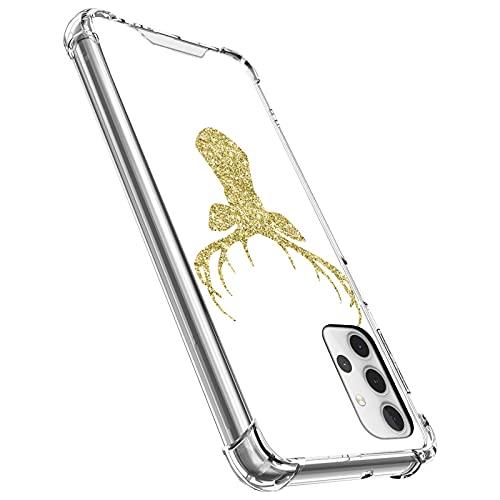 UZEUZA Clear Samsung Galaxy A32 5G Case Shock-Absorption Flexible Full Protection Reindeer Antler Golden Glitter Transparent TPU Anti-scratch Cover for Samsung Galaxy A32 5G
