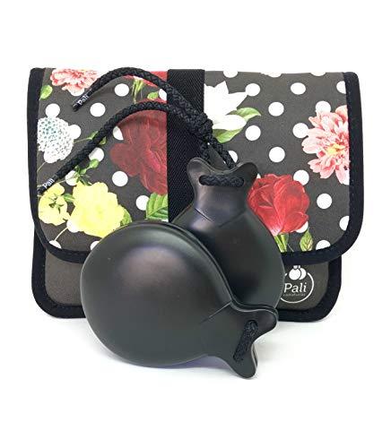 Castañuelas PALI color NEGRO con DOBLE CAJA. Ideal para el aprendizaje. (Funda Flores y Lunares)