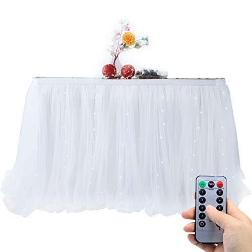 OakHaomie 10ft Table Skirt Tulle Tutu Table Cloth with 15pcs String Lights for Rectangle or Round Table for Party,Wedding,Birthday Party&Home Decoration,Table Skirting (White, 10ftX2.63ft)