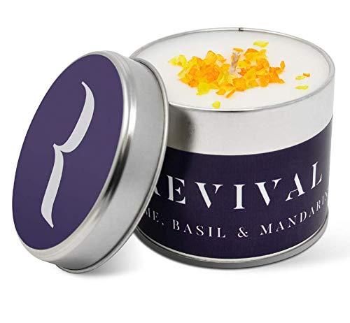 Premium Kerze mit Limette, Basilikum & Mandarinen (vegan) - Brenndauer bis zu 45 Stunden - In Großbritannien von Hand gegossen und mit natürlichen würzigen und süßen ätherischen Ölen angereichert