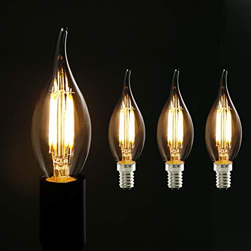 3X Edison Glühbirne E14 - GBLY 4W Retro Glühlampe Kerze LED - Dekorative Warmweiß Kerzenbirne - C35L Antike Lampen für Nostalgie & Retro Beleuchtung im Haus Café Bar Restaurant, Nicht Dimmbar
