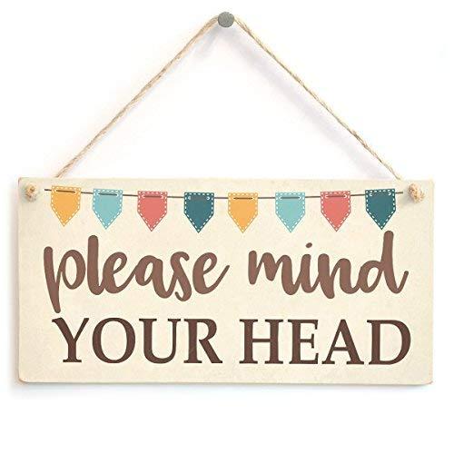 prz0vprz0v Let op uw hoofd Bunting Stijl Cadeaubord lage plafond Waarschuwing muur Decoratieve Teken Deur Teken 10