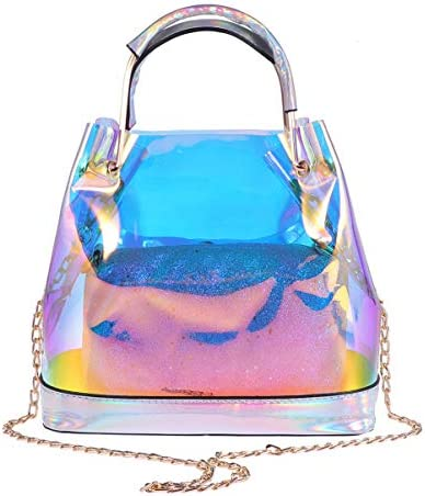 TENDYCOCO Top Handle Bags Hologram Handbag 2 in 1 Clear Clutch Bag with Chain for Women product image
