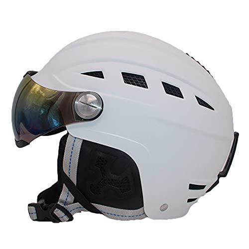 QTQZ Casco de esquí para Adultos y niños, Casco Deportivo Ajustable con Gafas de esquí Desmontables para Snowboard, Motocicleta, Ciclismo, Equipo de esquí para jóvenes, Negro, L
