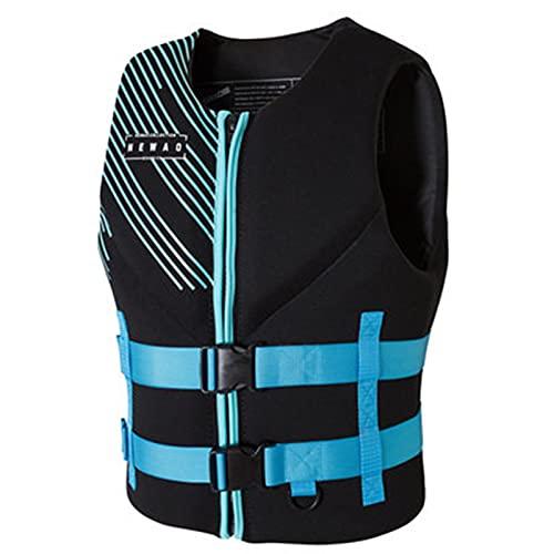 FSDH Chaleco de Vida para Adultos, Chaleco de natación Chaqueta de Ayuda de flotabilidad, con cinturón de Seguridad Ajustable, Adecuado para Pesca, Vela, Surf, navegación Blue-S