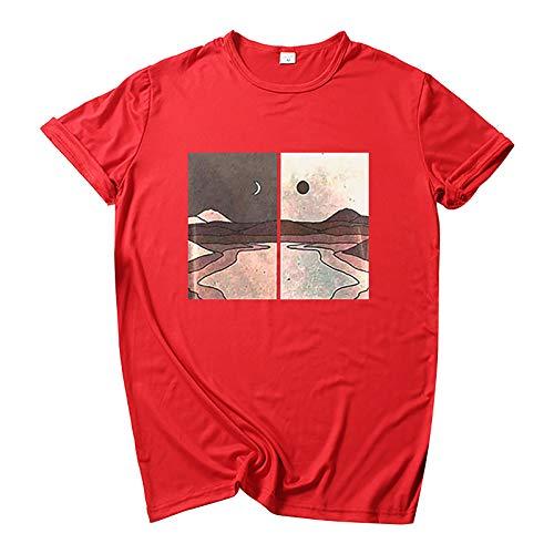 Camiseta básica de verano para mujer, diseño conciso, elegante, manga corta, cuello redondo, básica, túnica, muchos estilos., Rojo A., XXL