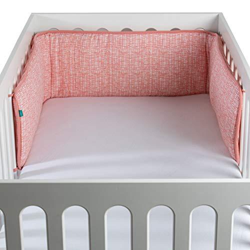 Urban Kanga Bettumrandung Nestchen Baby Kopfschutz Babybett Kantenschutz (Rosa)