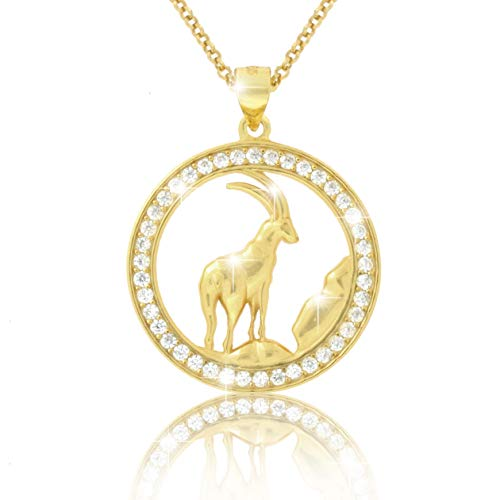 PAVEL´S elegante Damen Halskette Kette Sternzeichen STEINBOCK 18 Karat Gold plattiert glänzende Zirkonia in AAA Qualität aus der Kollektion ECLIPSE inkl. Schmuckbox und Echtheits-Zertifikat