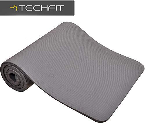 TechFit Fitness Yoga Tappetino, 10mm Extra Spessore, 180 x 60 cm, Ideale per Palestra, Esercizi del Pavimento, Campeggio, Stretching, ABS, Pilates (Grigio)