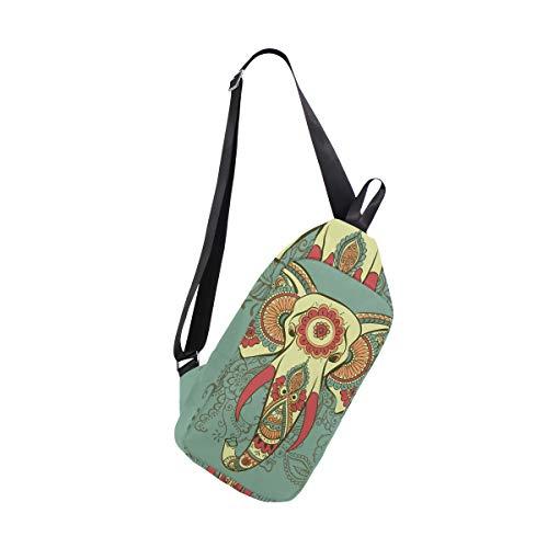 EZIOLY Henna indischer Elefant Schulter-Rucksack, Schultertasche, Schultertasche, Umhängetasche, für Reisen, Wandern, Tagesrucksack für Männer und Frauen