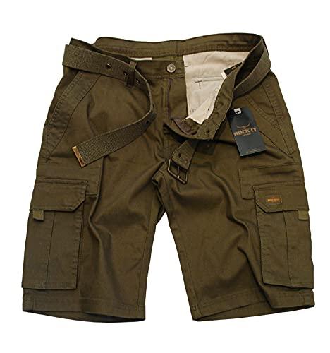 ROCK-IT Apparel Pantaloncini Cargo da Uomo con Cintura Bermuda Vintage con 6 Tasche da chiudere Pantaloni Estivi Corti da Uomo - Taglie S-5XL - Verde
