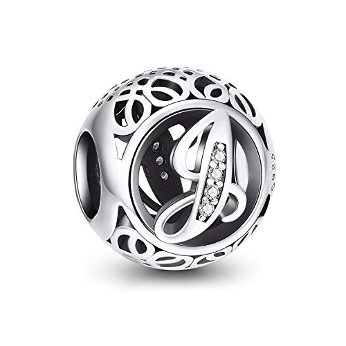 Letter Alphabet Charm 925 Sterling Silver Charms Fits European Bracelets Compatible (J)