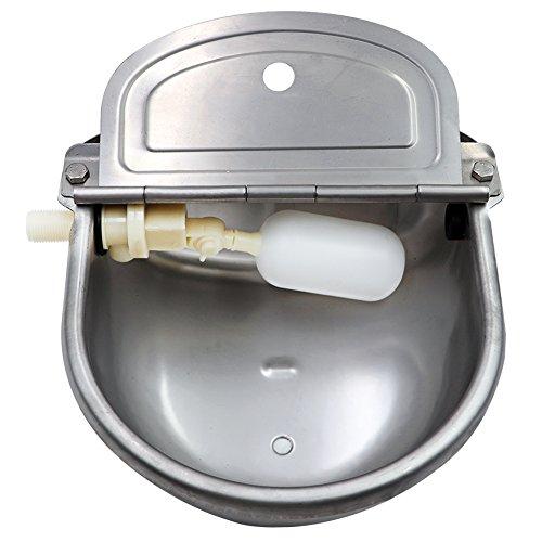 Farm & Ranch Cuenco de agua de acero inoxidable con escurridor para caballo perro gato cabra oveja cerdo flotador válvula