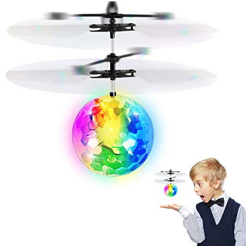 KKONES Flying Ball Toys, RC Toy Gifts Rechargeable Light Up Ball Drone Infrared Induction Helicopter with Remote Controller for 3 4 5 6 7 8 9 10 Year Old Boys and Girls