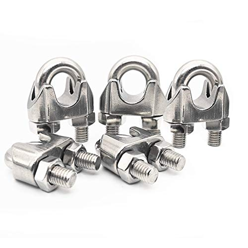 Fevas 2015 Hot 5 Pcs 304 Stainless Steel Saddle Clamp Cable Clip for Wire Rope