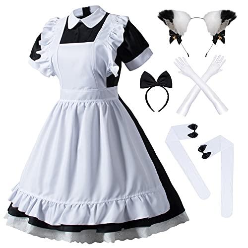 Juego de delantal de criada japonesa con diseo de Lolita francesa, disfraz de cosplay y guantes para la cabeza - negro - Small