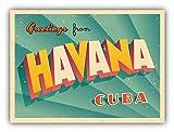 Tiukiu Havana Cuba Retro-Aufkleber für Laptop, Kühlschrank, Gitarre, Auto, Motorrad, Helm, Werkzeugkoffer, Koffer, Taschen, 10,2 cm breit, Vinyl, Multi, 10 Inch In Width
