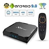 Android 9.0 TV Box 4GB RAM 64GB ROM, Upgraded X96 Max+ Android Box Amlogic S905X3 Quad-core 2.4G + 5.8G WiFi 1000M LAN Bluetooth 4.0 4K 60fps HDR Support 2.4G Voice Remote Control