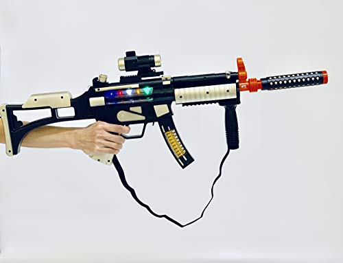 JOYSAE Light Up Combat Toy Machine Rifle Battery Operated with Military Sound Rapid Fire Machine Gun Toy